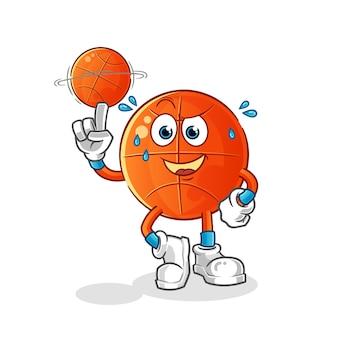 Mascote de basquete jogando basquete. desenho animado