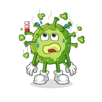 Mascote de bateria fraca de vírus isolado no branco