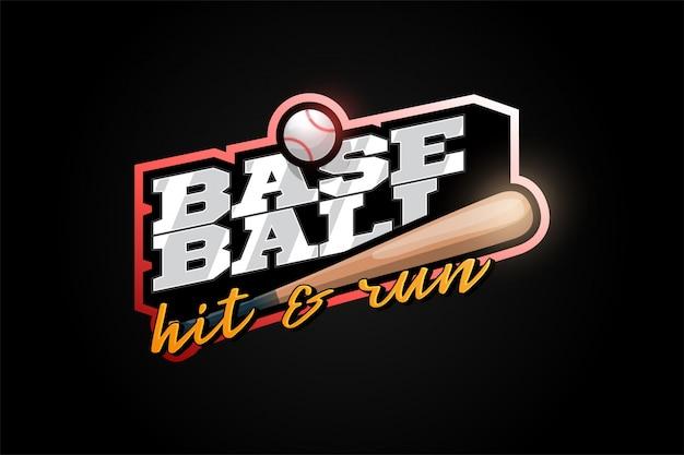 Mascote de beisebol esporte profissional moderno tipografia em estilo retro.