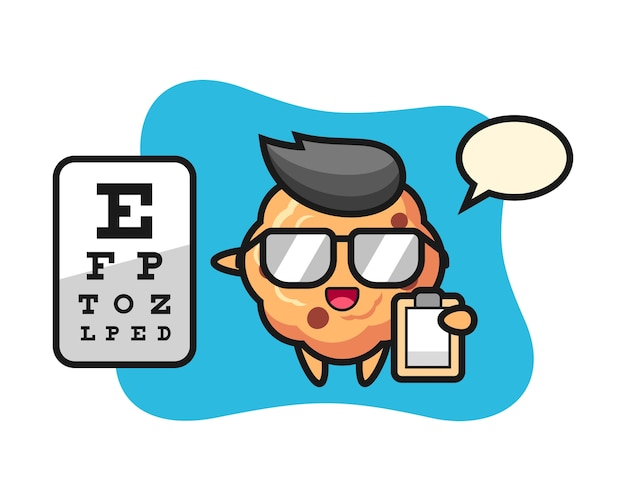 Mascote de biscoito de chocolate como oftalmologia