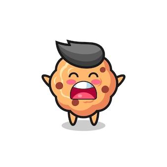 Mascote de biscoito de chocolate fofo com uma expressão de bocejo, design de estilo fofo para camiseta, adesivo, elemento de logotipo