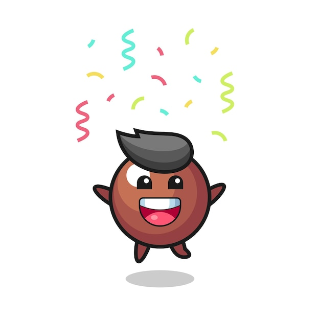 Mascote de bola de chocolate feliz pulando de parabéns com confete colorido, design de estilo fofo para camiseta, adesivo, elemento de logotipo