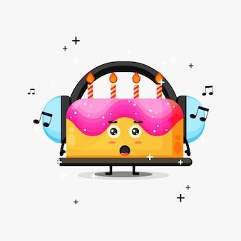 Mascote de bolo de aniversário fofo ouvindo música