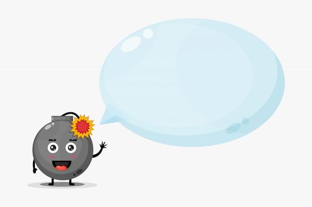 Mascote de bombas fofas com discurso de bolha