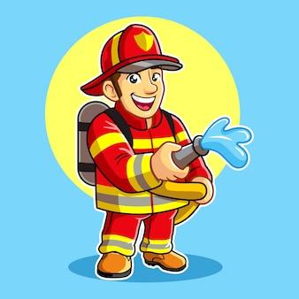 Mascote de bombeiro pulveriza água.