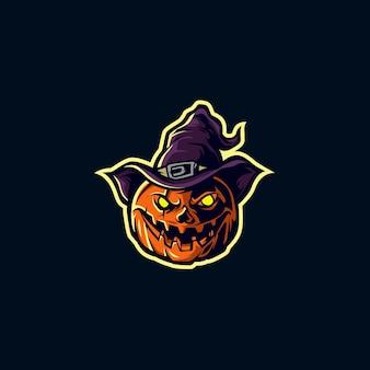 Mascote de bruxa de abóbora