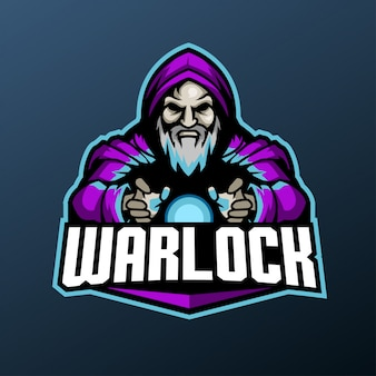 Mascote de bruxo para logotipo de esportes e esports isolado em fundo escuro