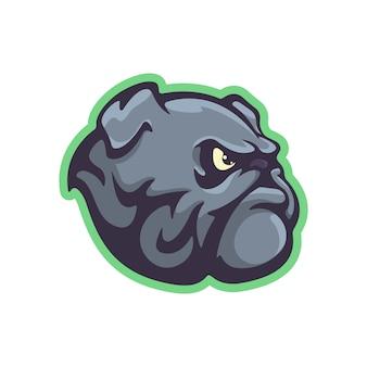 Mascote de buldogue em estilo cartoon