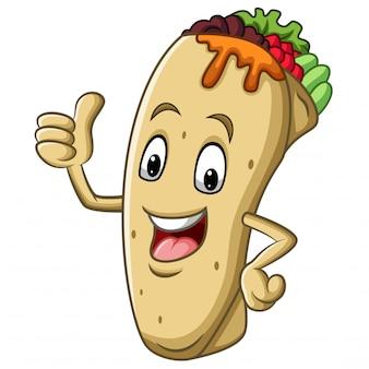 Mascote de burrito dos desenhos animados, desistindo de polegar