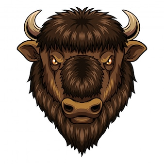 Mascote de cabeça de bisonte