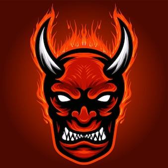 Mascote de cabeça de demônios com raiva