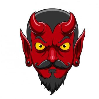 Mascote de cabeça de diabo assustador dos desenhos animados de ilustração