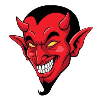 Mascote de cabeça de diabo assustador dos desenhos animados