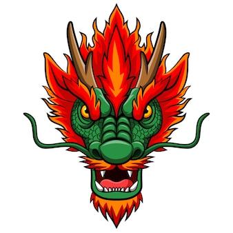 Mascote de cabeça de dragão chinês dos desenhos animados