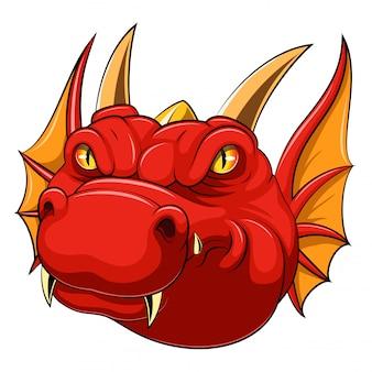 Mascote de cabeça de dragão vermelho