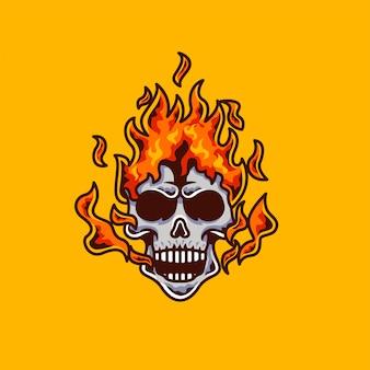 Mascote de cabeça de fogo de caveira e logotipo de jogo de esport