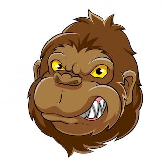 Mascote de cabeça de gorila de ilustração
