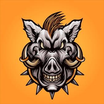 Mascote de cabeça de javali