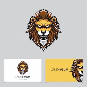 Mascote de cabeça de leão e cartões de visita