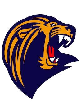 Mascote de cabeça de leão ruge