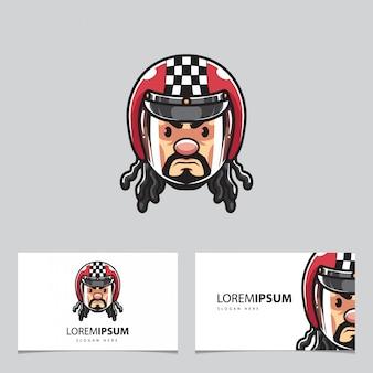 Mascote de cabeça de motociclista e cartões de visita