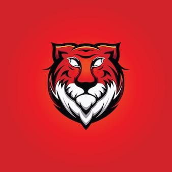 Mascote de cabeça de tigre grande com fundo vermelho