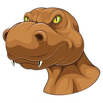 Mascote de cabeça de tiranossauro marrom