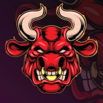 Mascote de cabeça de touro zangado