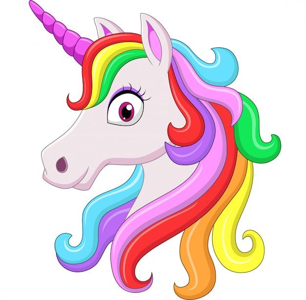 Mascote de cabeça de unicórnio bonito arco-íris