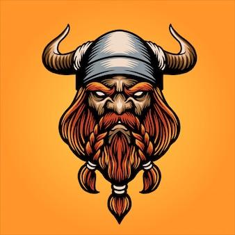 Mascote de cabeça viking