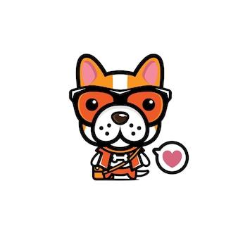Mascote de cachorro fofo