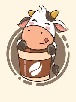 Mascote de café de vaca fofo - personagem de desenho animado e ilustração do logotipo Vetor Premium