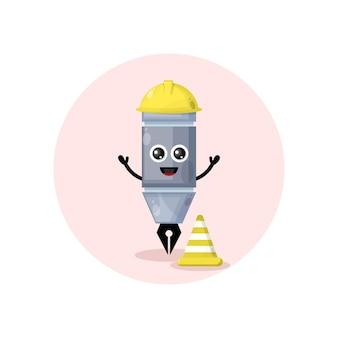 Mascote de canetas de trabalhadores da construção