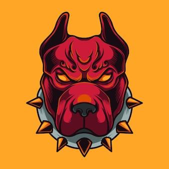 Mascote de cão muscle pitbull logo premium vector
