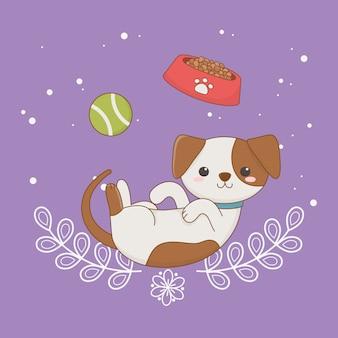 Mascote de cão pequeno bonito com prato e bola