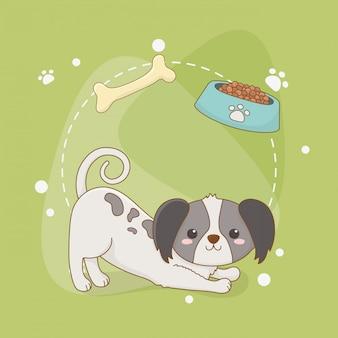 Mascote de cão pequeno bonito com prato e osso