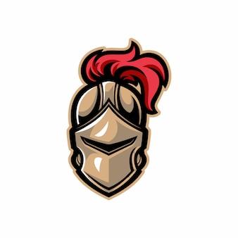 Mascote de capacete guerreiro cavaleiro