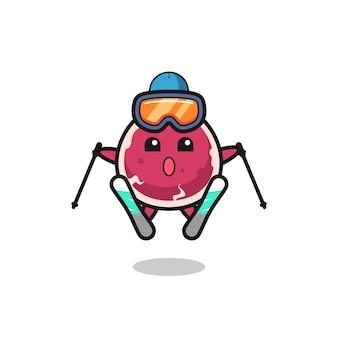 Mascote de carne bovina como jogador de esqui, design de estilo fofo para camiseta, adesivo, elemento de logotipo