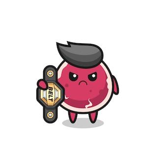 Mascote de carne bovina como lutador de mma com o cinto de campeão, design de estilo fofo para camiseta, adesivo, elemento de logotipo Vetor Premium