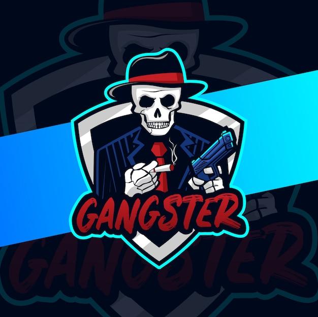 Mascote de caveira gangster com logotipo esport arma de mão