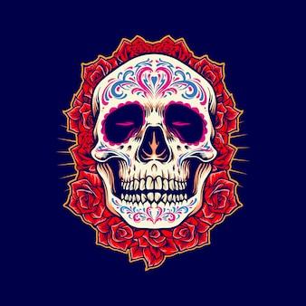 Mascote de caveira mexicana com ilustrações de rosas