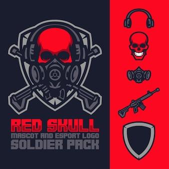 Mascote de caveira vermelha e pacote de logotipo esports