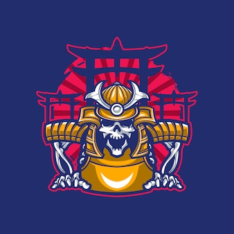 Mascote de caveira vestindo armadura de samurai