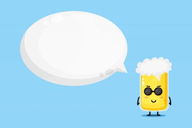 Mascote de cerveja fofo com discurso de bolha