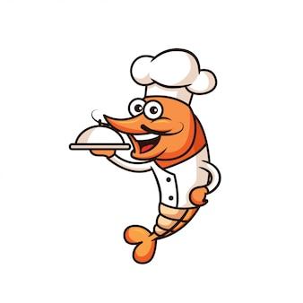 Mascote de chef de camarão