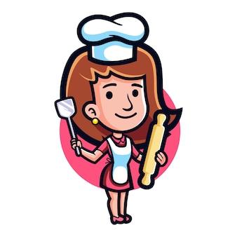 Mascote de classe de cozimento dos desenhos animados