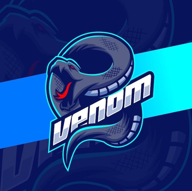 Mascote de cobra venenosa de víbora para design de logotipo de jogos e esport