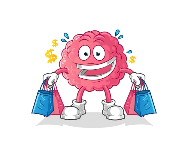Mascote de compras do cérebro.