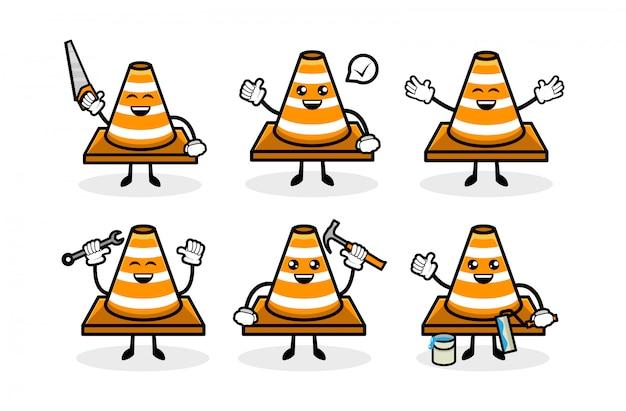 Mascote de cone bonito tráfego