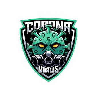 Mascote de coronavírus usando máscara de gás na ilustração do logotipo do escudo